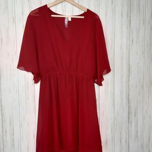 Alya Bright Red Dress VNeck Large